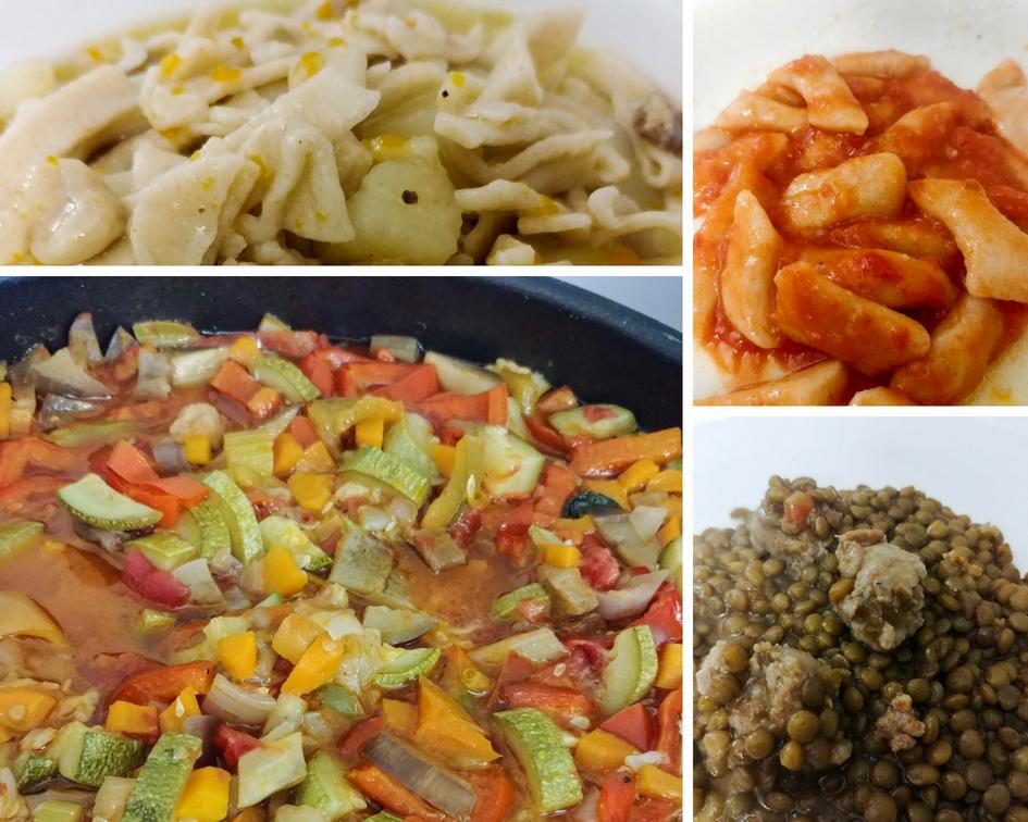 Sagne e ceci, gnocchi al sugo, ciabbotta, lenticchie e salsicce